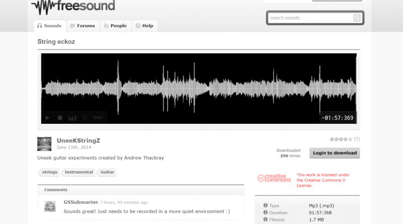 Tela do site Free Sound